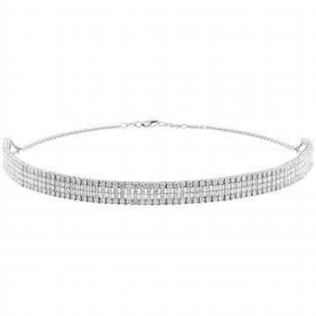 necklace choker or collar with four rows set with brilliant cut diamonds set with 4 claws per diamond