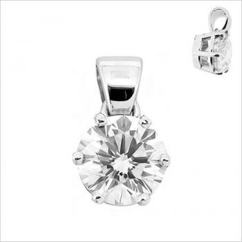 solitaire pendant with a brilliant cut diamond set with six claws