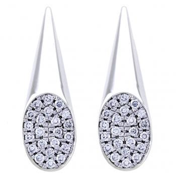 Earrings Coconé conical slanting surface pave set with brilliant cut diamonds
