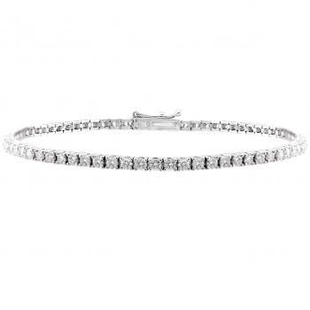 tennis bracelet or rivière with brilliant cut diamonds set with claws or prongs