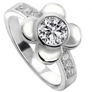 flower solitaire ring with a brilliant cut diamond in a roundel or donut flanked by petals on a rectangular band pavé set with smaller diamonds