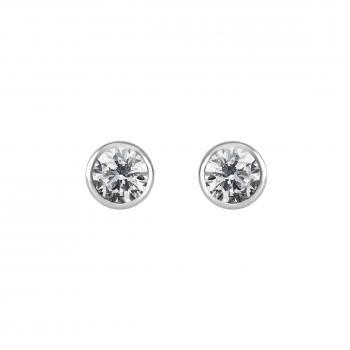 solitaire earrings with brilliants put in small conical pots with poussette