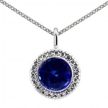 entourage or halo pendant with a central round sapphire around which pavé set diamonds finished with an engraving and mounted on an oval bracket