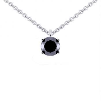 necklace with a solitaire pendant with a black brilliant cut diamond attached to a very small loop