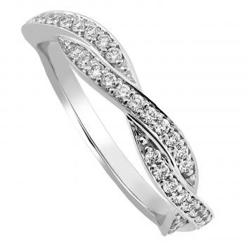 pavé ring braided or crossed over half set with brilliant cut diamonds