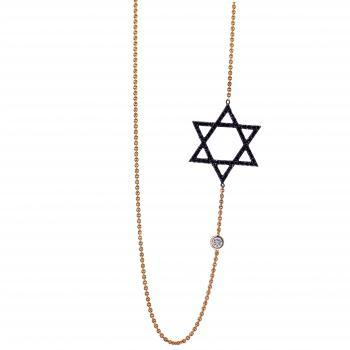 necklace with a hexagram pavé set with black diamonds and in between a white brilliant cut diamond set in a donut