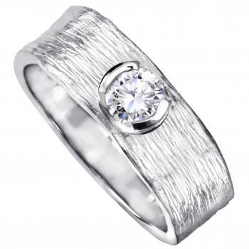 solitaire ring with a brilliant cut diamond in a semi-open pot with a thin edge on an organic finished band