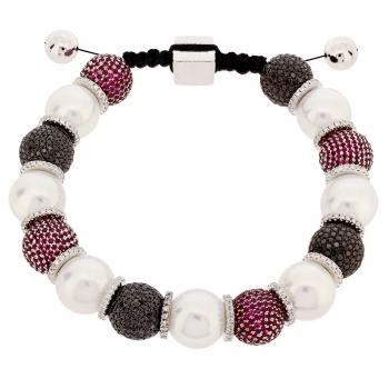 bracelet with south sea pearls AAA+ and pavé set beads with black and white brilliant cut diamonds and red rubies