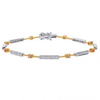 bicolor bracelet set with brilliant cut diamonds in bars and pink precious stones in prongs