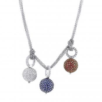string necklace with 3 changeable pavé set beads with brilliant cut diamonds, sapphires and rubies