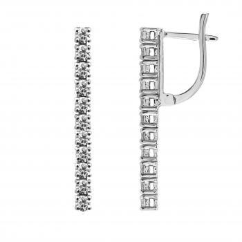 earrings with brilliant cut diamonds set one below the other and clip system