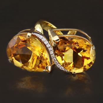 Toi Et Moi ring with two pear-cut citrine and in between a middle piece with brilliant cut diamonds