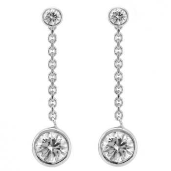solitaire earrings with brilliant pending on a thin chain