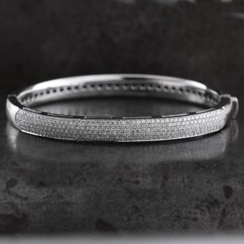 pavé bracelets bangle partly set with brilliant cut diamonds
