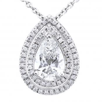 double entourage pendant with a pear shaped central diamond surrounded with smaller brilliant cut diamonds