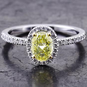 halo ring with a central oval Fancy Intense Yellow diamond surrounded by smaller white brilliant cut diamonds on a rectangular castle set band