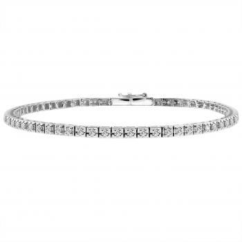 tennis bracelet with brilliant cut diamonds set with four claws on slim square cubes
