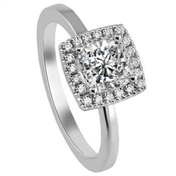 halo ring with a central cushion diamond and pavé set without accent diamonds on the band