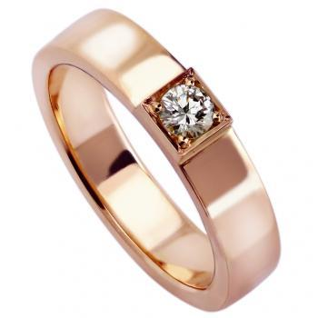 solitaire ring with a rectangular profile set with a brilliant cut diamond set in a samll block with four grains