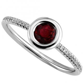 solitaire ring with a round ruby set in a donut with a thin border mounted on a round thin band with two rods and set with smaller brilliant cut diamonds