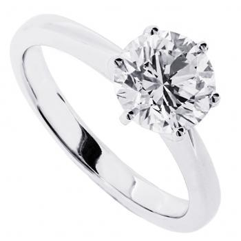 solitaire ring brilliant cut diamond in tiffany 6 prongs