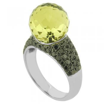 ring 18kt lemon quartz black diamonds