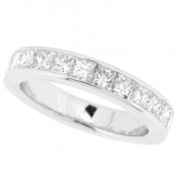 wedding ring diamond band with princess-cut diamonds
