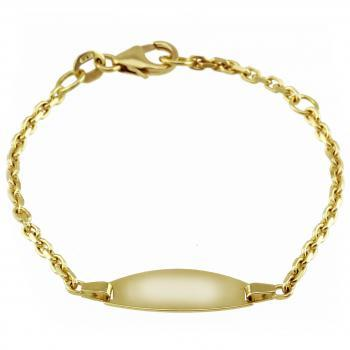 baby bracelet with an oval plate on a flatted rolo chain with in between a ring on 2cm (exclusive engraving)