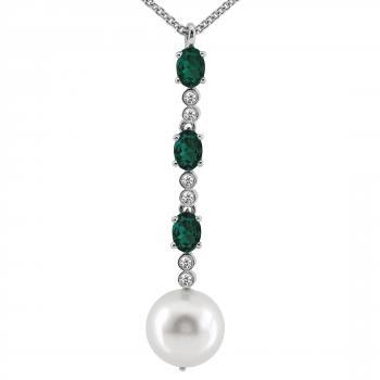 pearl pendant with three oval cut emeralds between which two small brilliant cut diamonds set in small pots under which a white South Sea pearl