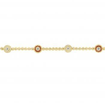 tennisbracelet with bezel set brilliant cut diamonds with an alternating entourage of rubies and diamonds