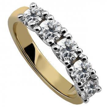 alliance ring or wedding band with five round brilliant cut diamonds each set with four U-shaped claws