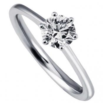 handmade solitaire ring with a brilliant cut diamond  set wit six conic straight claws on a thin shank