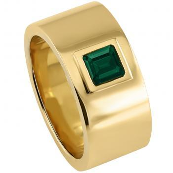 flat wedding ring with a bezel set faceted square cut emerald