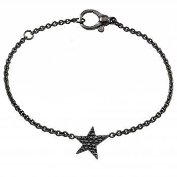 rolo bracelet with a star castle set with black brilliant cut diamonds
