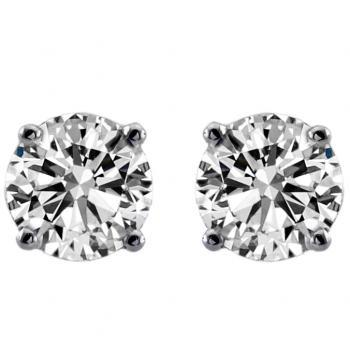 solitaire earrings with brilliant cut diamonds  set in 4 rounded curved prongs with alpa-system