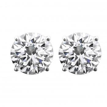 solitaire earrings with brilliant cut diamonds set with four fine round claws and with the roundel below a bit smaller