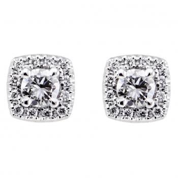 entourageearrings tv- or cushion shaped with a central brilliant cut diamond surrounded with smaller brilliant cut diamonds