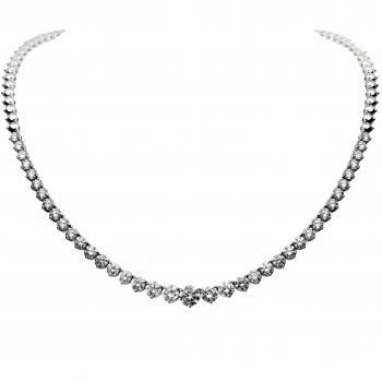 tennis necklace with descending brillliant cut diamonds set with three prong per diamond