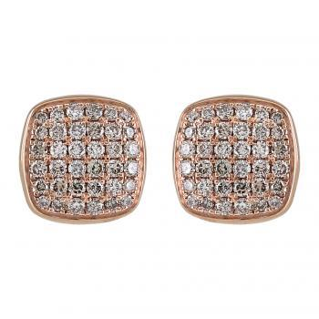 hollow rounded square pavé earrings hollow with baté set with light fancy brown colored diamonds