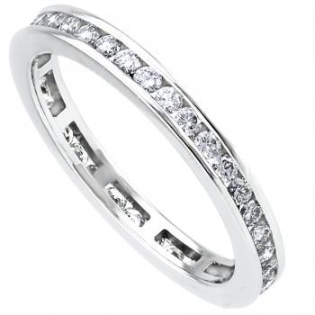 wedding ring diamond band completely set in channel with brilliant-cut diamonds with rounded borders