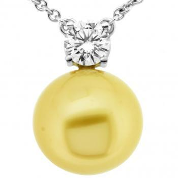 pearl necklace with a brilliant cut diamond set in four prongs below a high luster AAA+ round golden South Sea Pearl