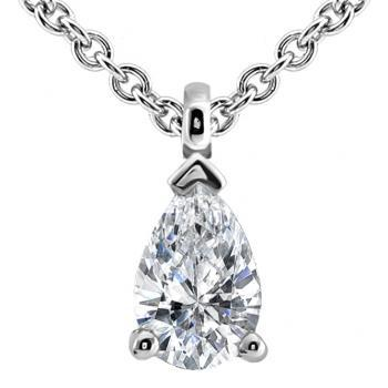 elegant anchor chain with a solitaire pendant with a pear cut diamond mounted with a small ring
