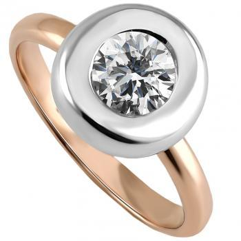 solitaire ring with a brilliant cut diamond set in a thick flat rounded disc with a wide edge