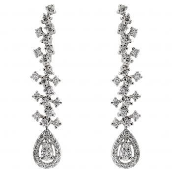 earrings with brilliant cut diamonds set with four claws each stone and between which a pear-shaped halo of two smaller diamonds surrounded with two rows of castle set diamonds
