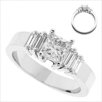 solitairering voor princess 5mm en 4 baguetten