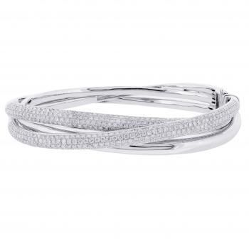 bangle bracelet 3 crossing bands from which 2 pavé set with brilliant cut diamonds