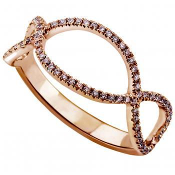 braided ring set with brown brilliant cut diamonds