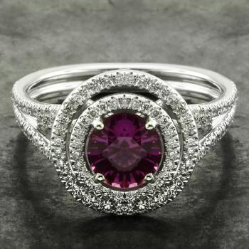 dubbele entourage ring met hot pink natural untreated sapphire