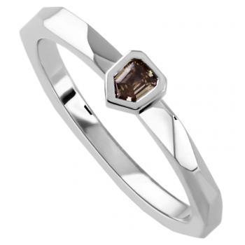 solitaire ring with a bullet cut fancy brown diamond bezel set with a thin border mounted on a band with assymetric flat structures