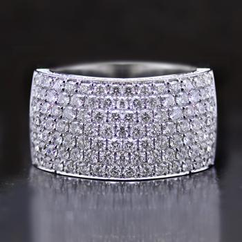wider pavé ring zigzag set on top and on the side with brilliant cut diamonds